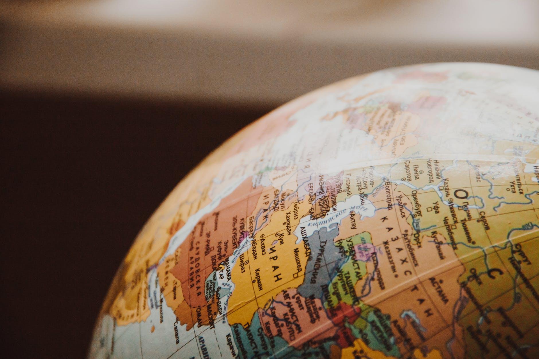 close up of globe